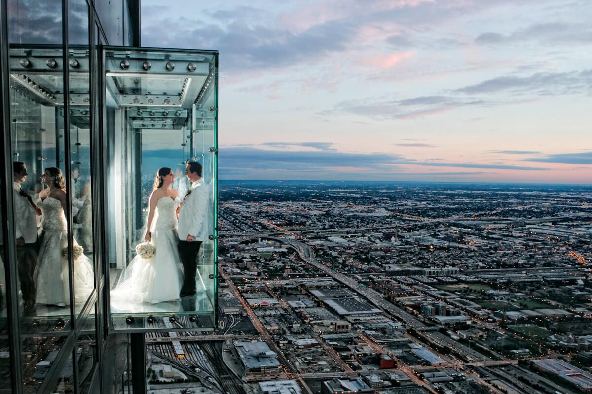 Willis Tower wedding portrait