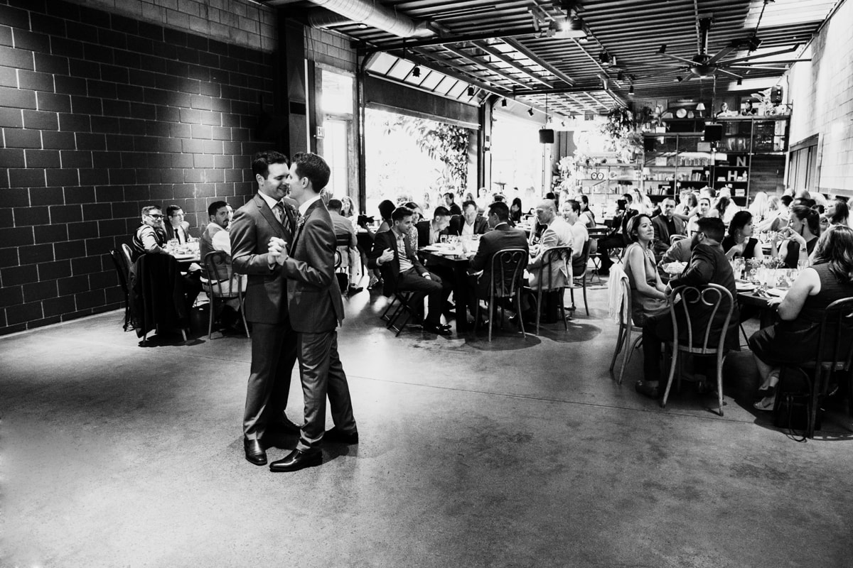 Black and white first dance at wedding reception