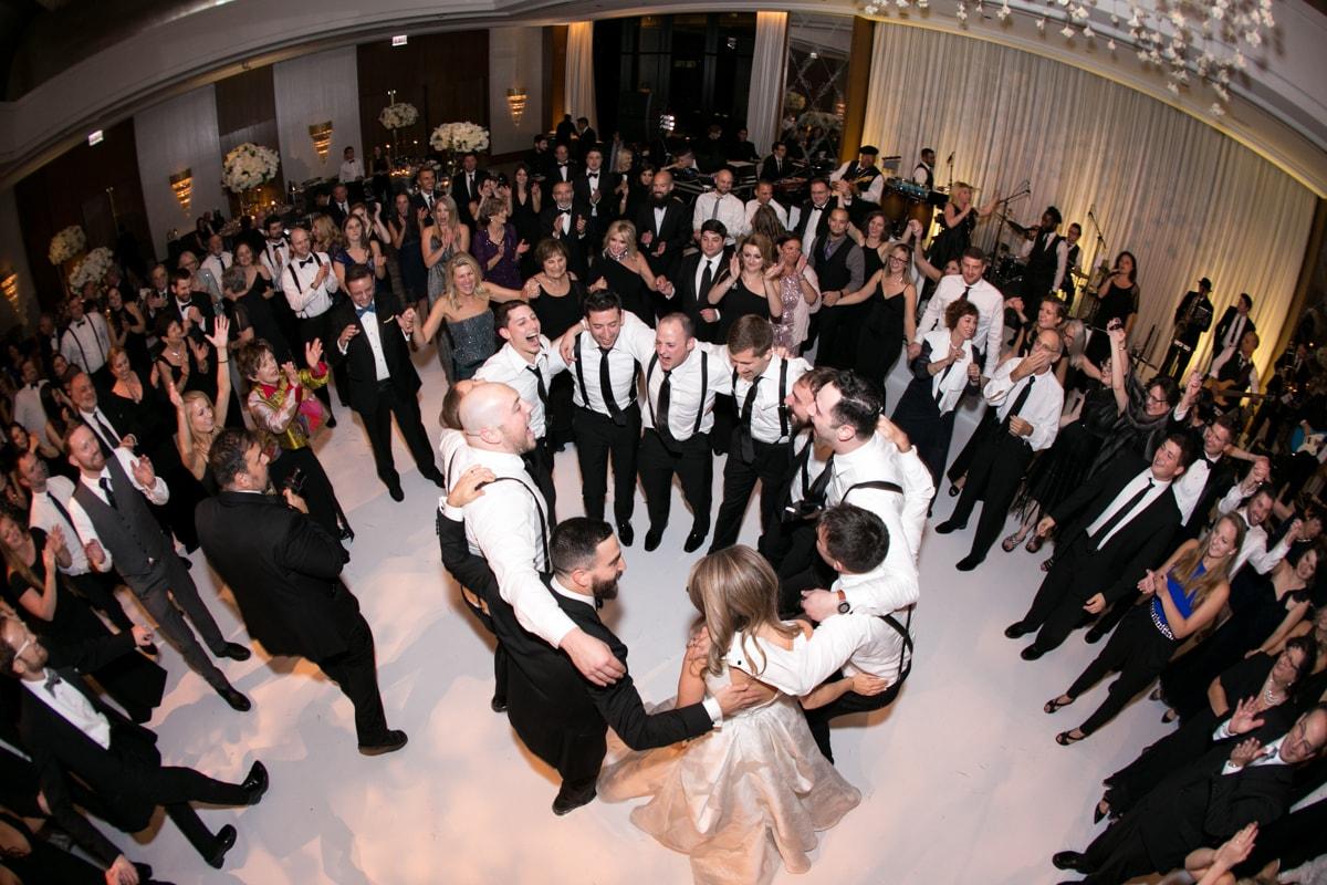 Circle dance at wedding reception