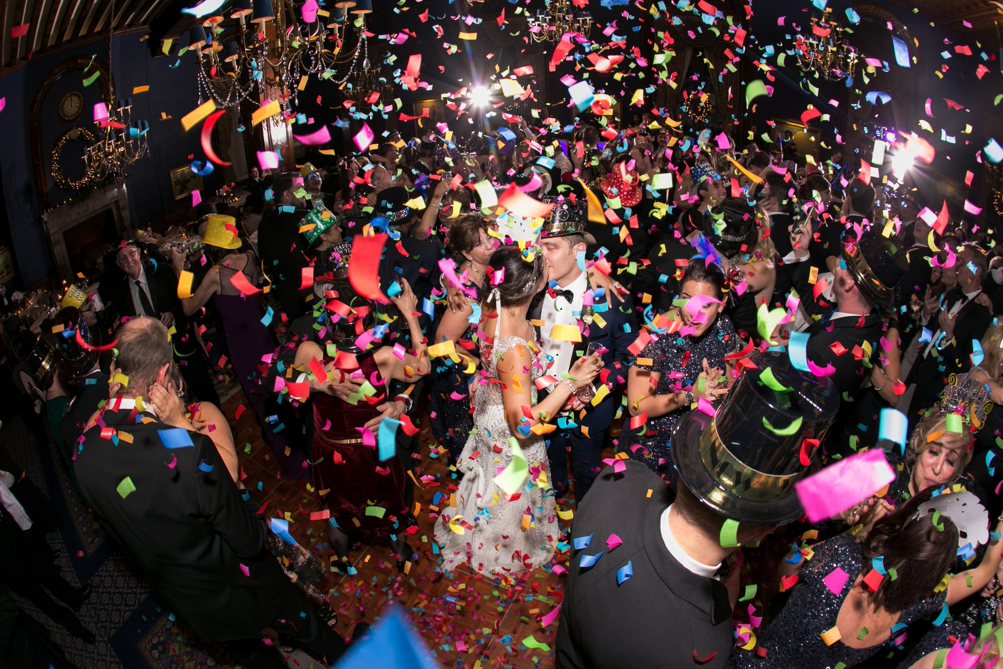Confetti drop at wedding reception on New Years Eve