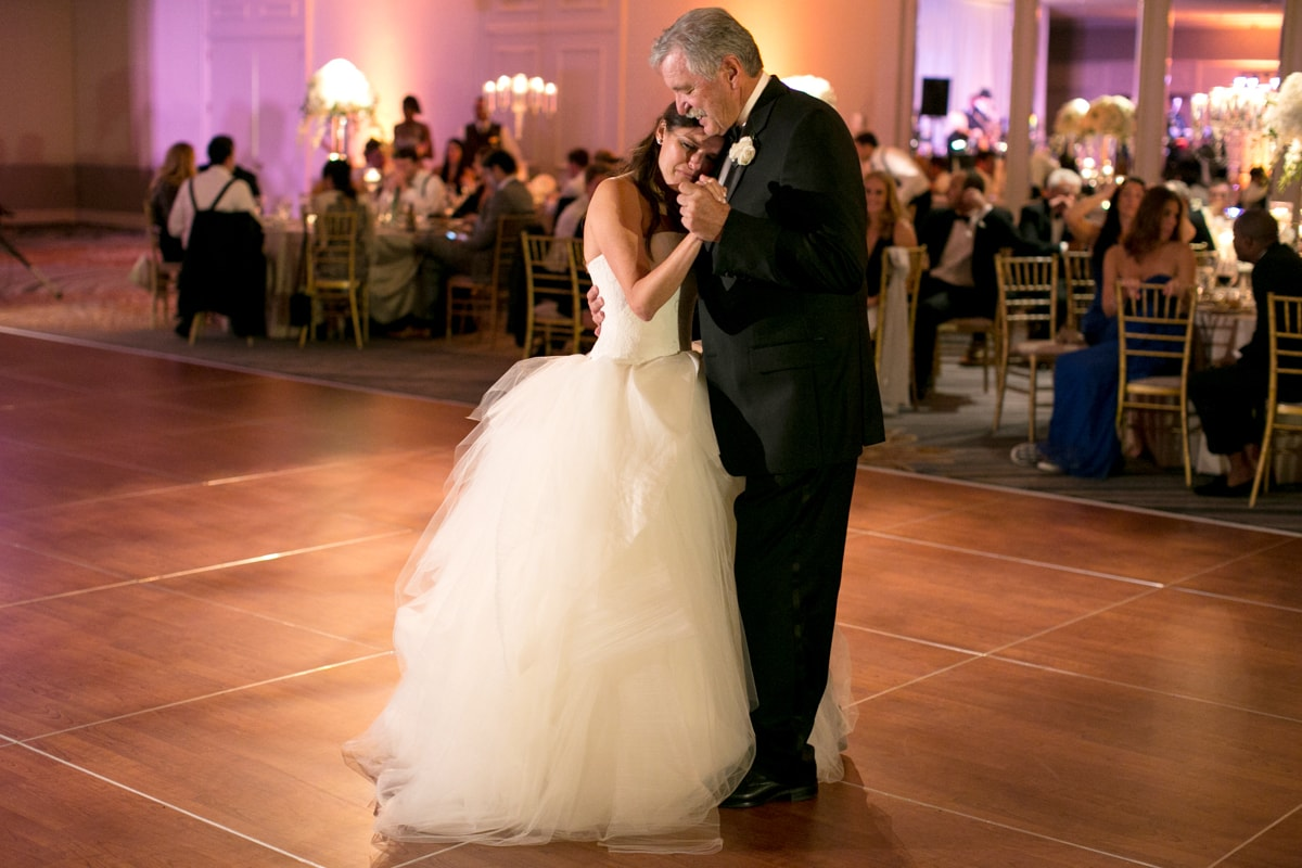 Emotional father daughter dance at wedding reception