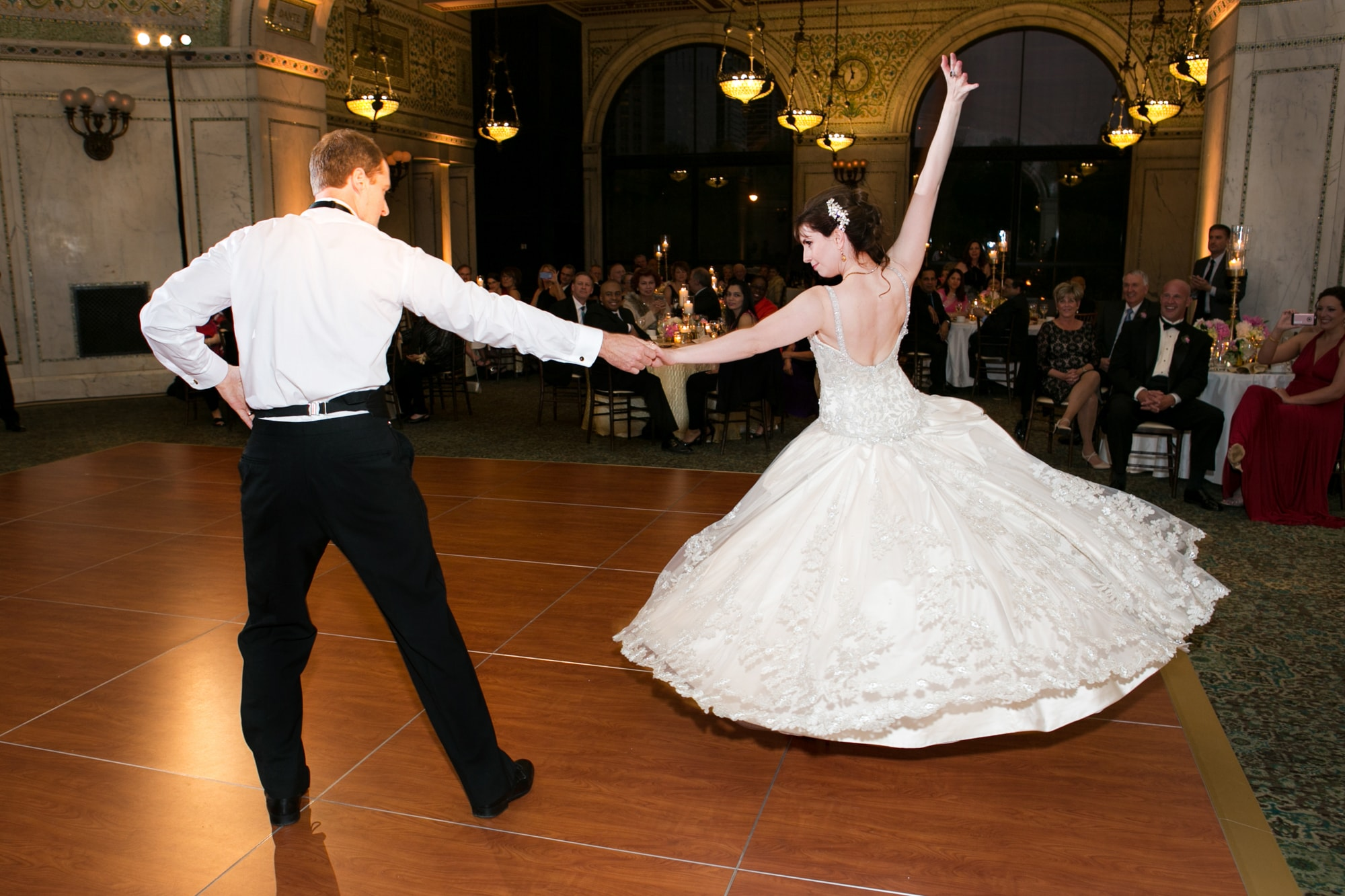 Dramatic first dance at Chicago Cultural Center wedding reception