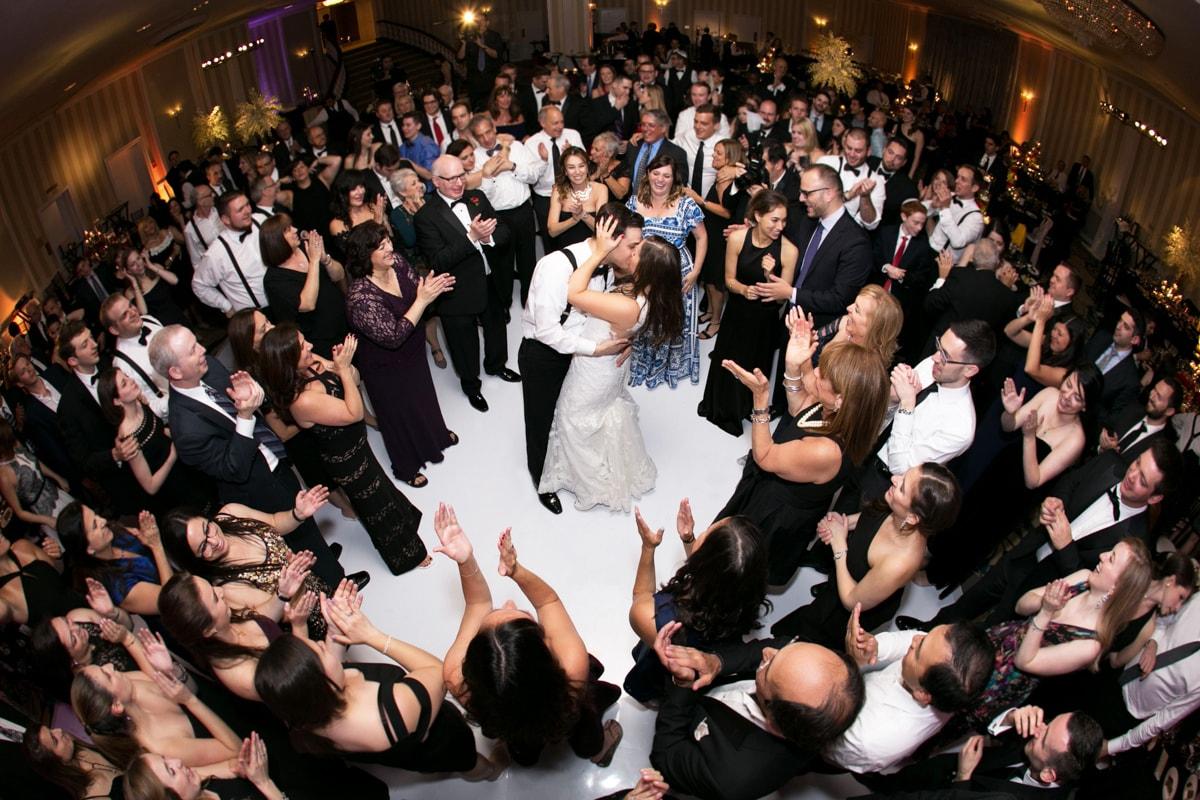 Full dance floor at wedding reception