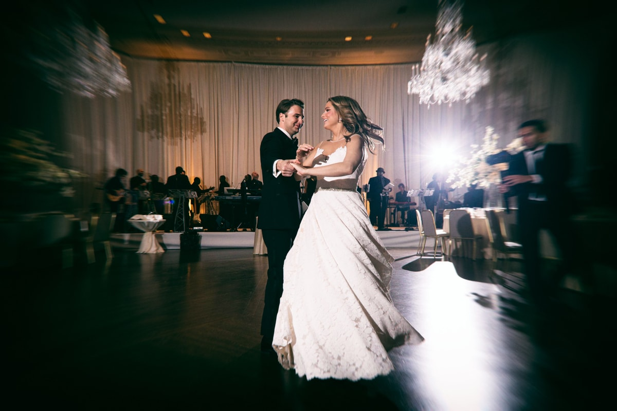 Fun spin during the bride and groom's first dance.