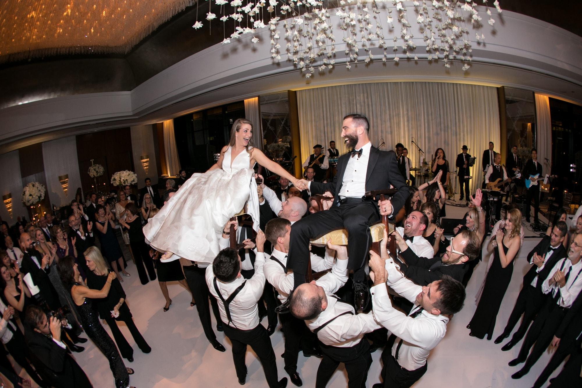 Jewish hora at wedding reception