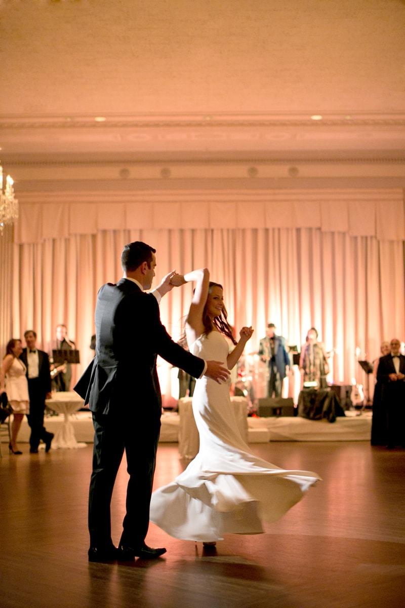 Wedding reception first dance twirl