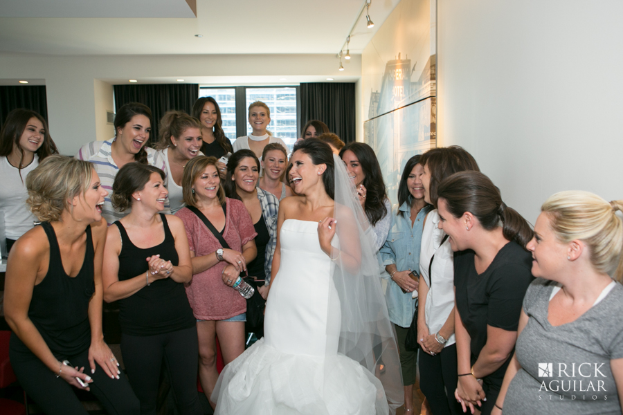 bridesmaids and bride getting ready photos