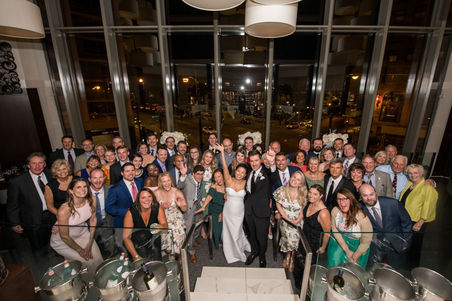 large group at chicago wedding at spiaggia