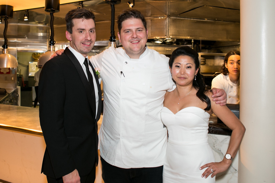 bride and groom with spiaggia chef