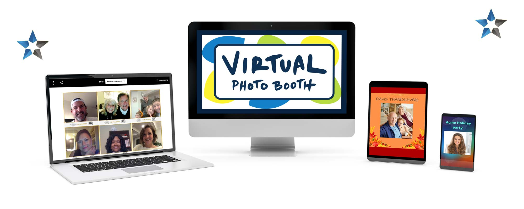 Four computer devices showing the Virtual Photobooth application and how easy it to use on those platforms.