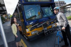 Bus Riders with Bike