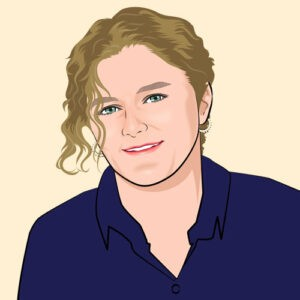 drawing of lesbian author Catherine Lane