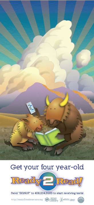 A parent bison and a baby bison reading together. Text SIGNUP to 406-204-3583 to receive texts.