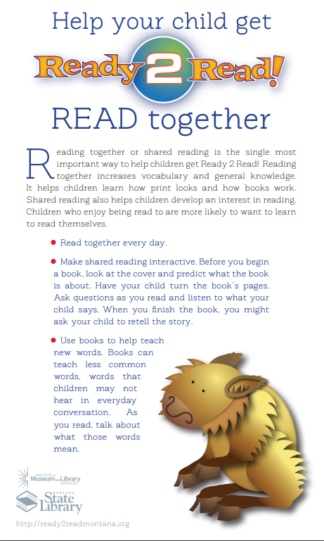 Help your child get ready to read. Click on the image to go to the state library's website.