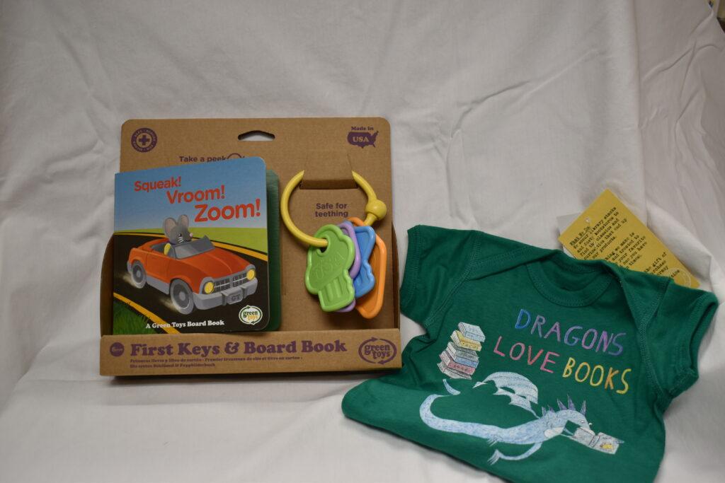 Dragons Love Books Onesie (6 mo) & Book & Teething Ring