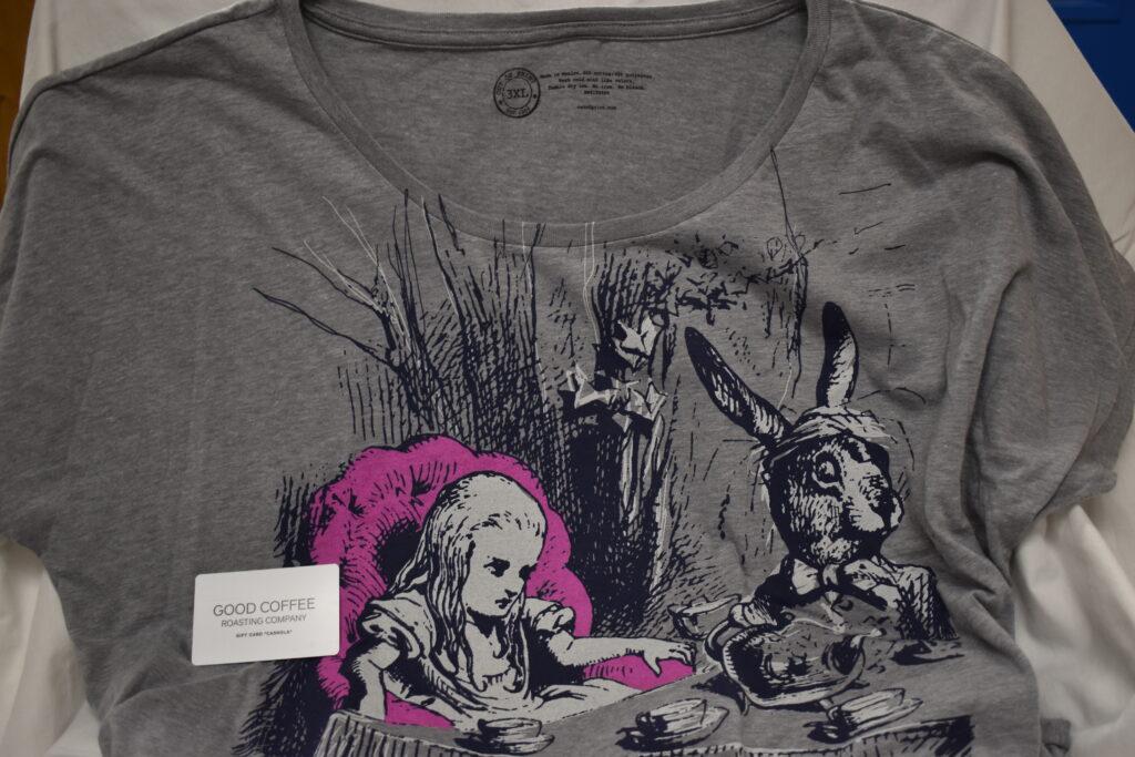 Alice in Wonderland women's dolman T-shirt size 3X & $10 Good Coffee Roasting Company Gift Card