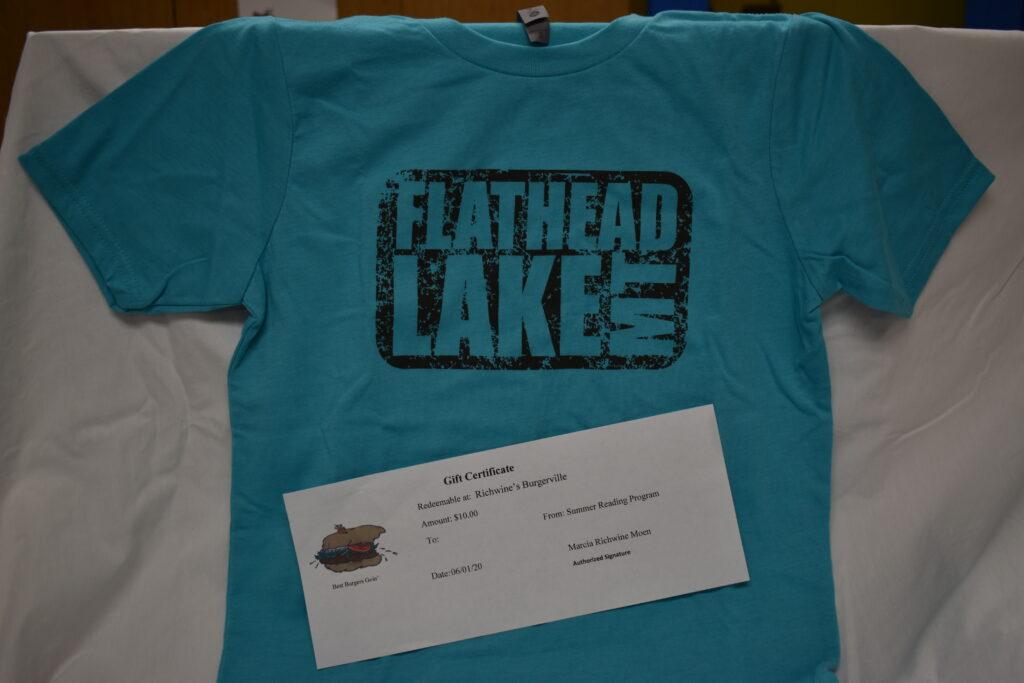 Flathead Lake T-Shirt (kids M) & $10 Burgerville Gift Certificate