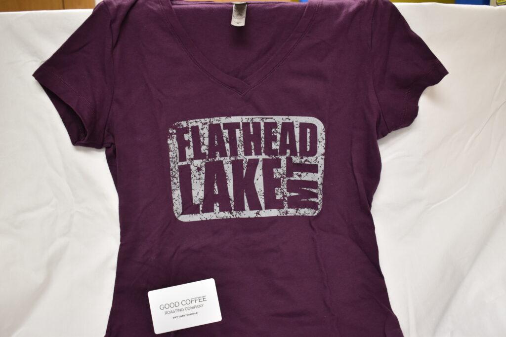The Rack Flathead Lake T-Shirt (Women's M) & $10 Good Coffee Roasting Company Gift Card