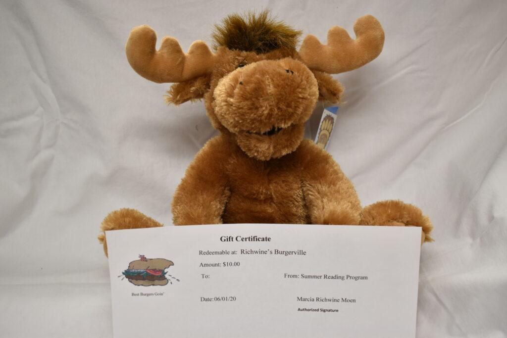 Plush Moose from the KOA & $10 Burgerville Gift Certificate