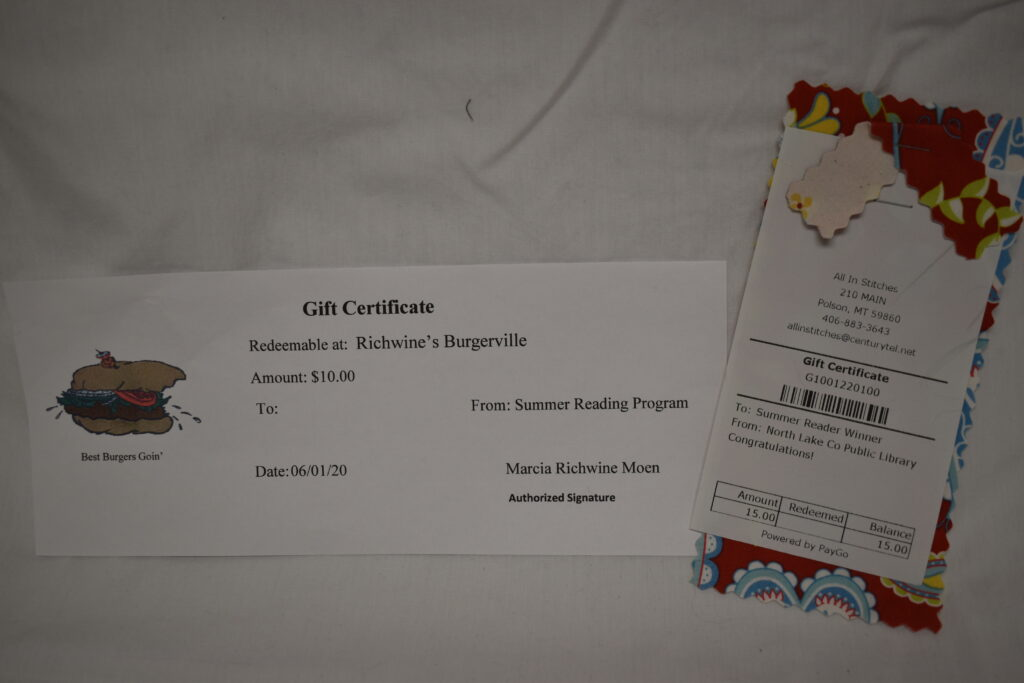 $15 All in Stitches Gift Certificate & $10 Burgerville Gift Certificate