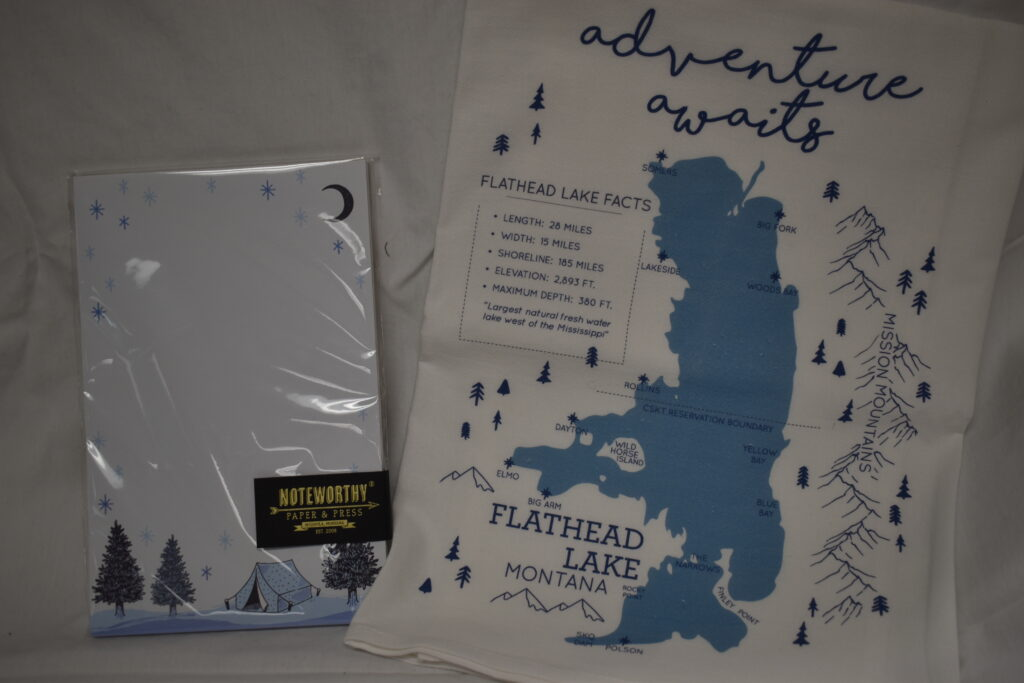 From Alpine Design Flathead Lake Kitchen Towel & Noteworthy Camping Notepad