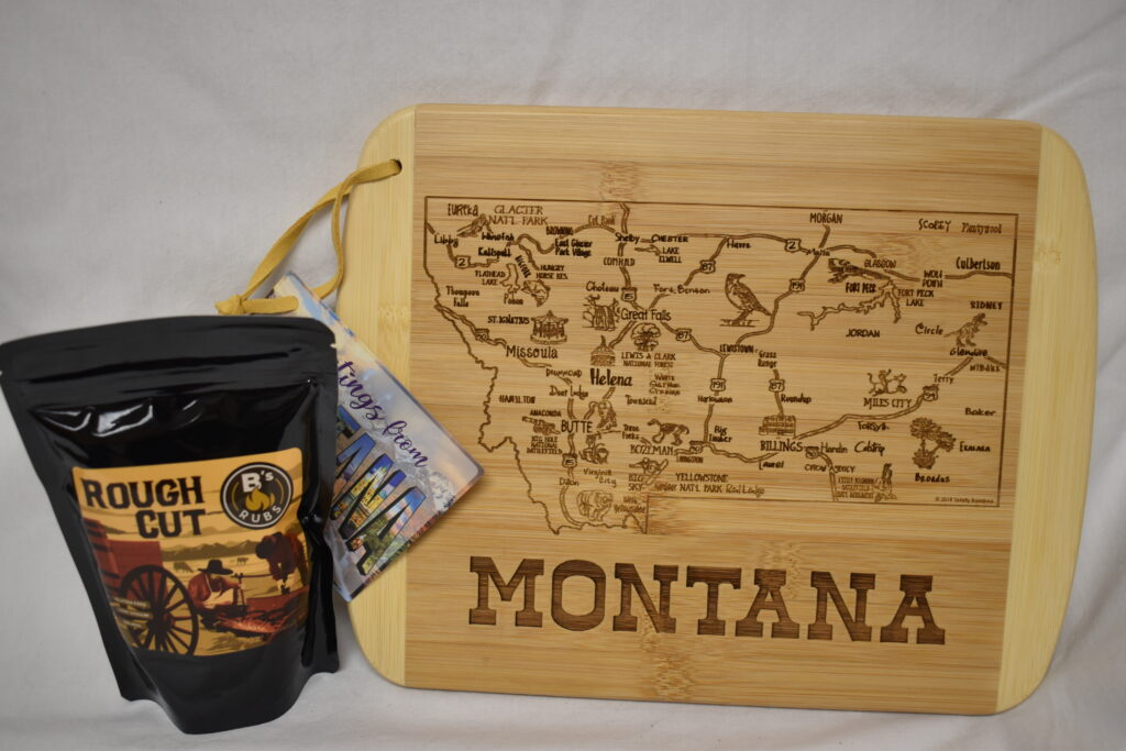 From Mission Mountain Natural Foods Montana Cutting Board & from Second Nature Gifts B's Rubs Rough Cut Seasoning Blend