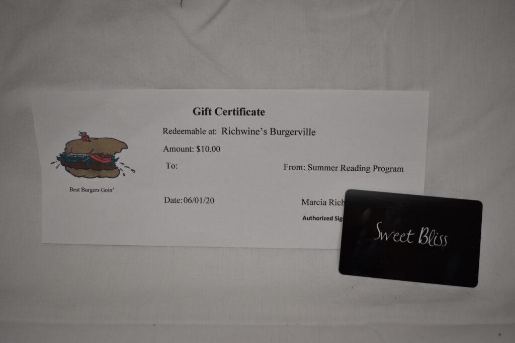 $15 Sweet Bliss Gift Card & $10 Burgerville Gift Certificate