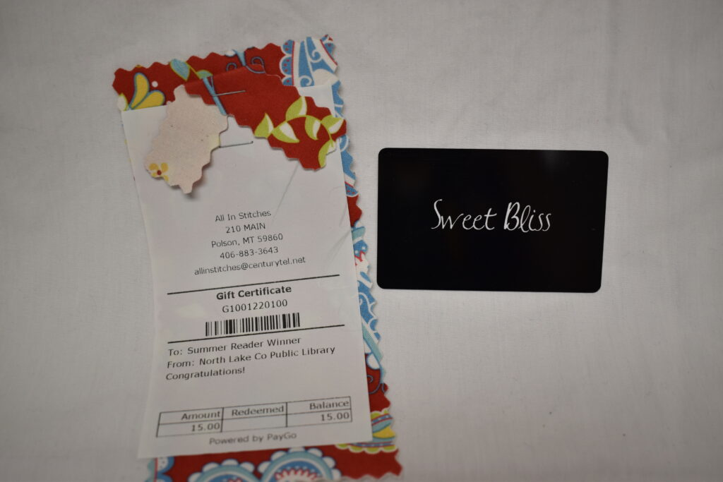 All in Stitches $15 gift certificate & Sweet Bliss $15 Gift Card