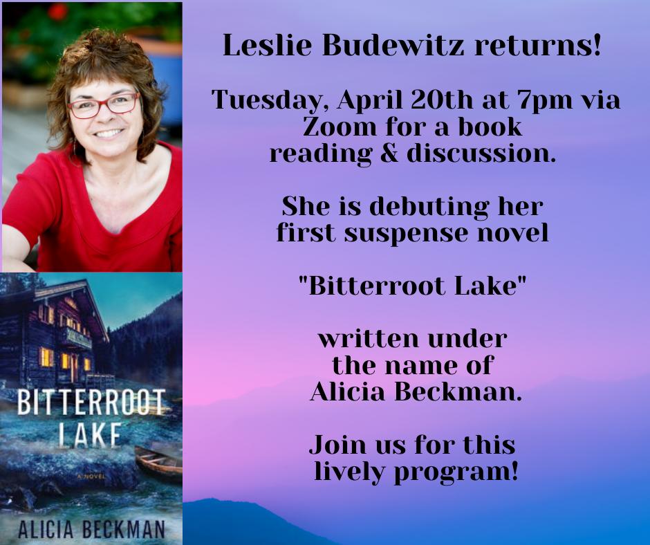 Leslie Budewitz program on April 20 at 7pm via Zoom