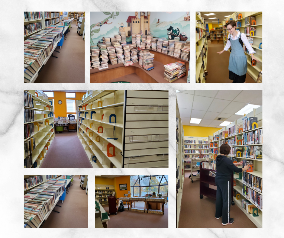 photos of staff, shelves and books during reorganization of adult fiction