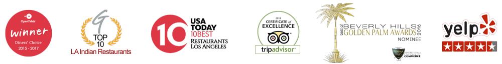 Spice Affair Awards : OpenTable Diner's Choice, Yelp, Tripadvisor, Beverly Hills Golden Palm Awards, etc