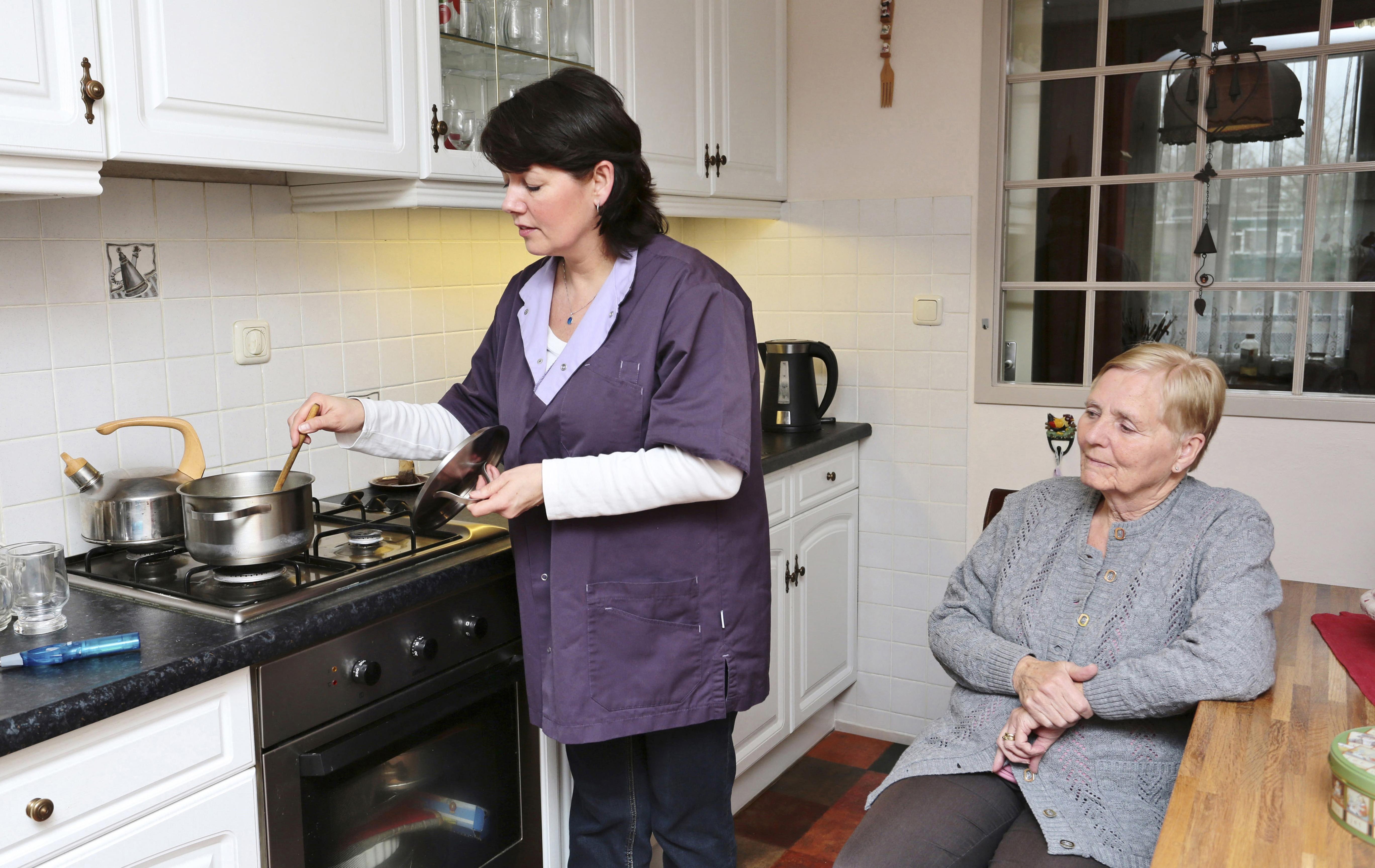 Caregiver making a meal