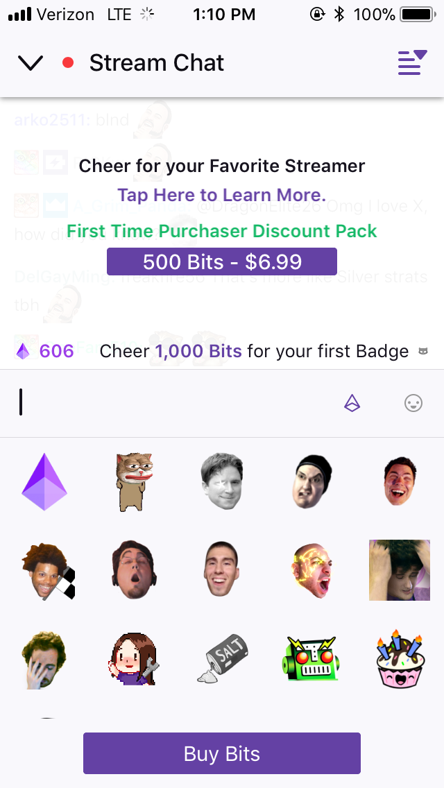 twitch bit donation mobile