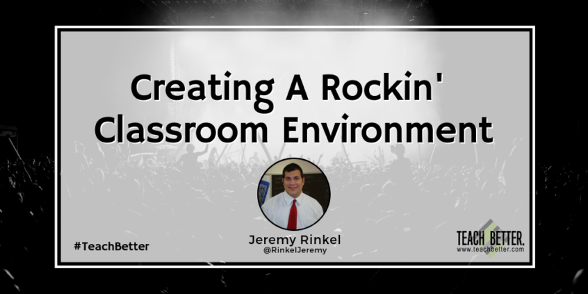 Blog header image featuring a rock concert behind the blog's title Creating A Rockin Classroom Environment