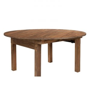 Rustic Farm Round Solid Pine Folding Table
