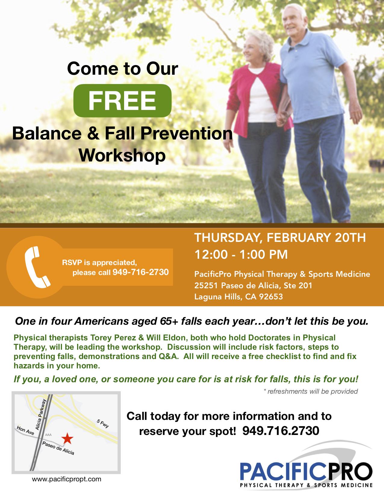Balance & Fall Prevention Workshop Flyer