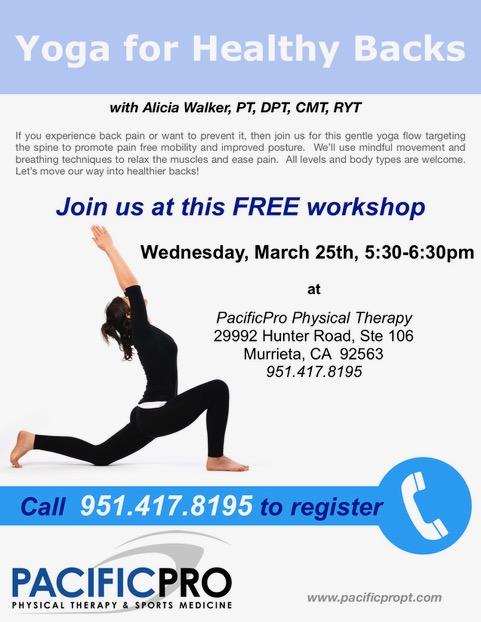 Yoga for healthy backs workshop