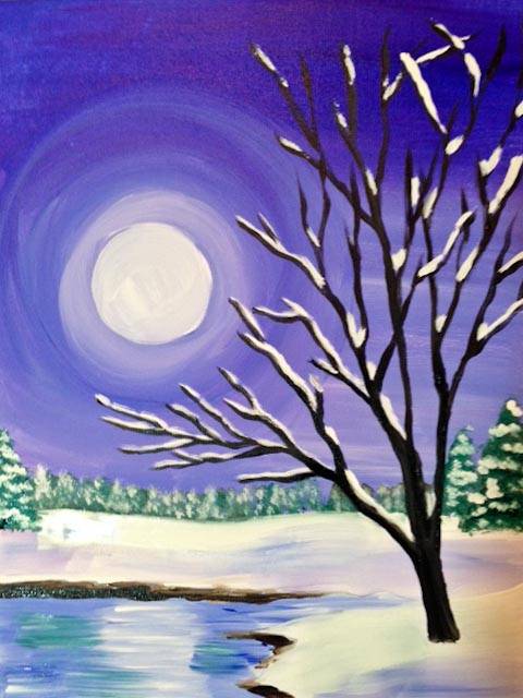Painting of a tree silhouette by a frozen pond.