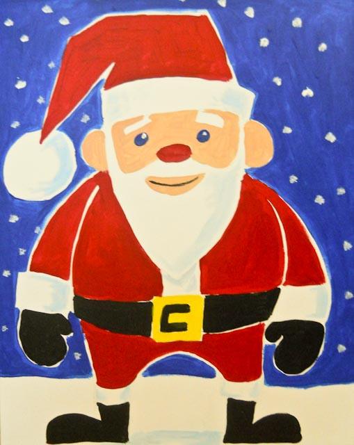 A painting of a simplified, cartoonish Santa