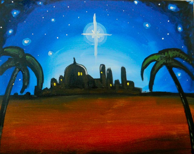 Painting of a desert town on the horizon with a bright star above.