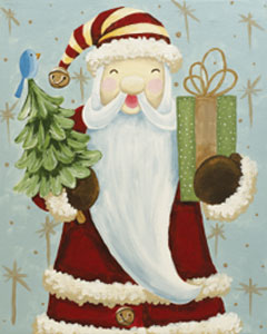 Painting of a rustic Santa, holding a small tree and package