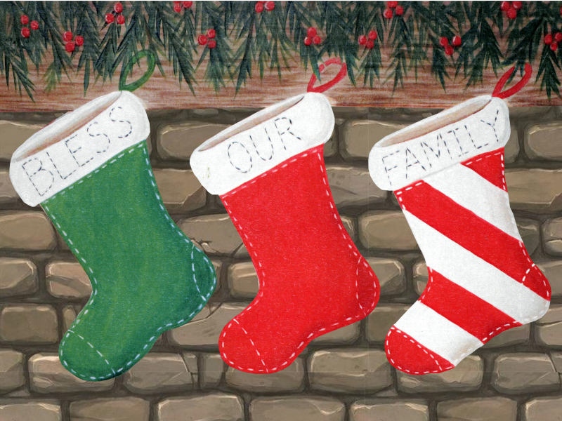 Painting of three stockings hanging from a mantle.