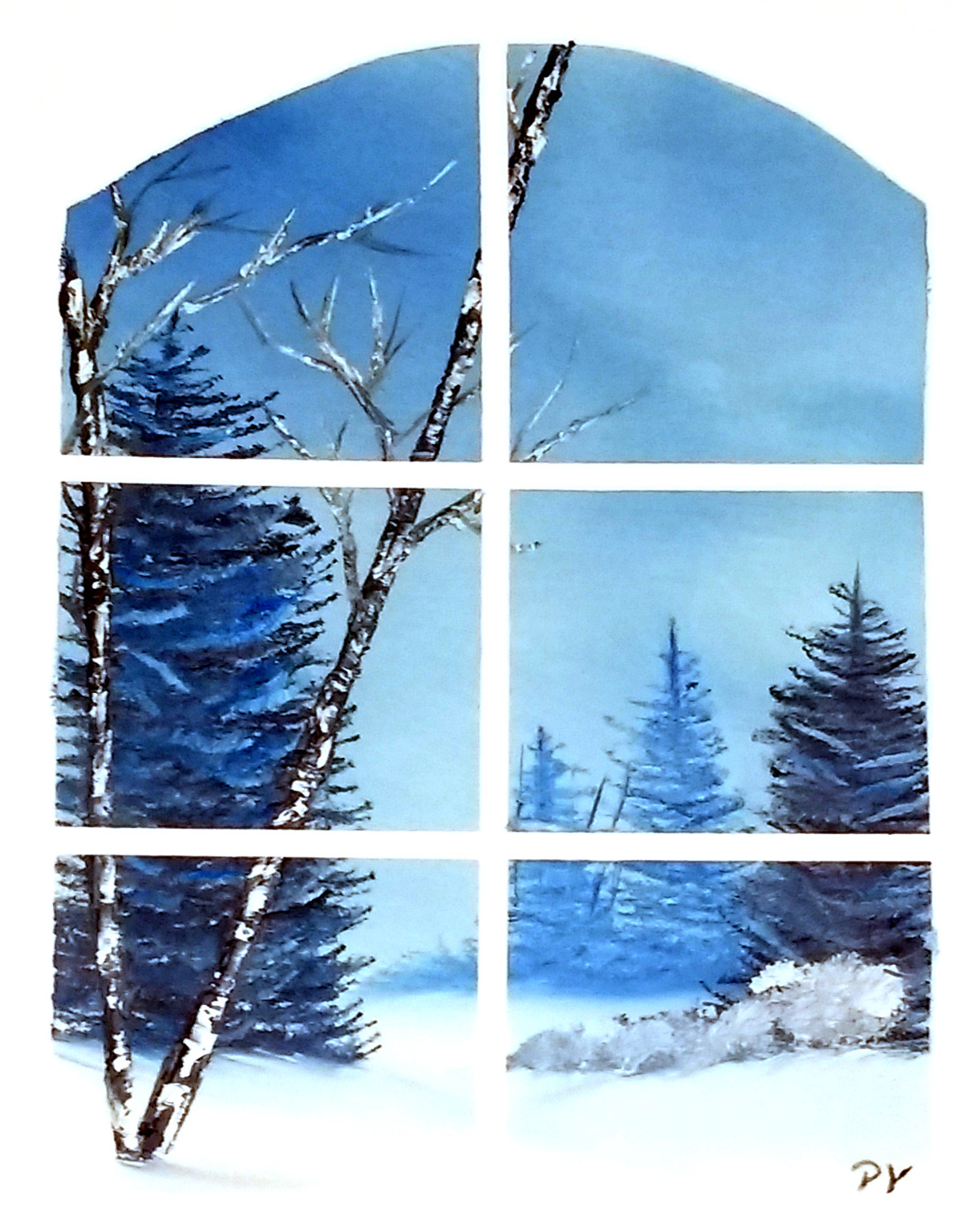 Painting of a wintry landscape as viewed through a window pane.