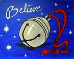 """Painting of a sleigh bell with the word """"Believe"""" written above."""