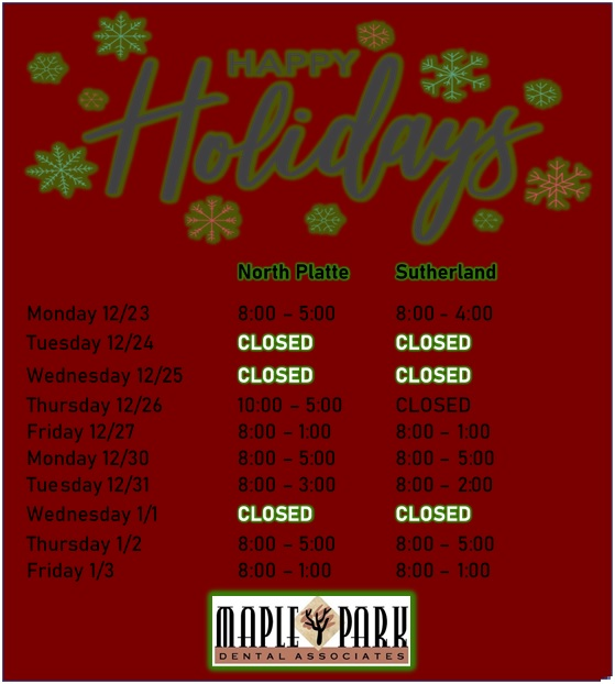 Holiday office hours for North Platte and Sutherland offices!