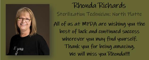 Farewell to our North Platte sterilization technician!