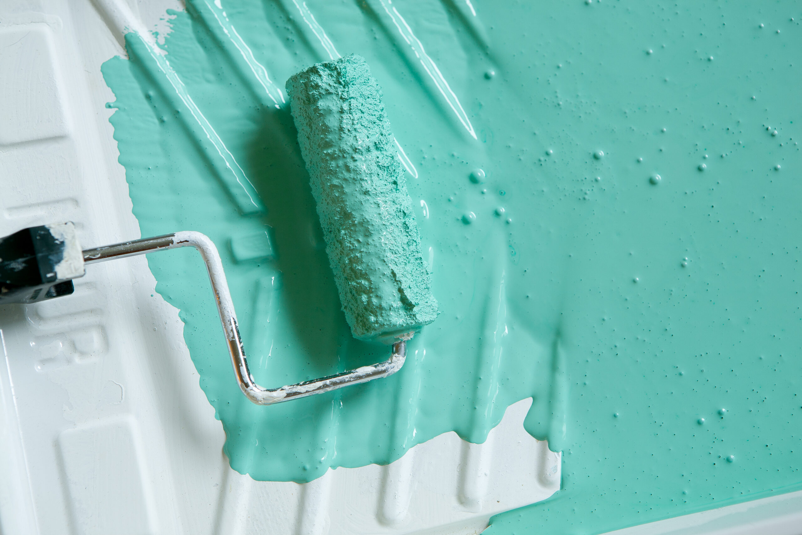 Paint roller in tray