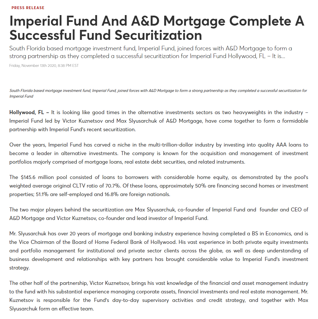 imperial fund securitization press release