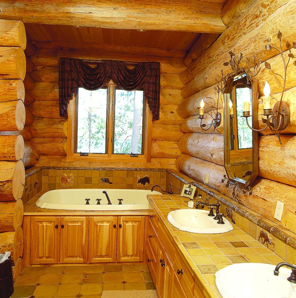 Log Home Bathroom With Wood Detail