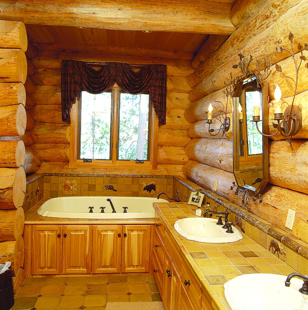 Log Home Bathroom With Wood Detail